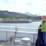 Pam Emerson ferrying to Seldovia, Alaska to sing harmonies live with me at the Seldovia Music Festival 2008.