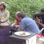 Isaac James (djembe on Yula) with Borrina Mapaka (writer of Yula)  in Talkeetna, Alaska 2004.